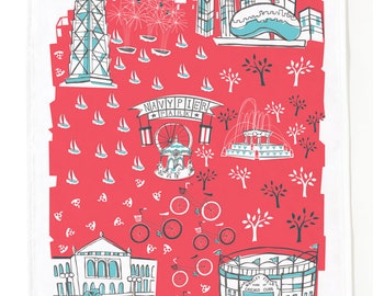 Chicago Tea Towel-Home Goods-Kitchen-Red-Turquoise-Grey-17 x 28