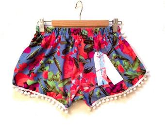 SALE s4   6-8  8-10 Blue and Orange Tropical Print Pom Pom shorts