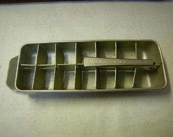 vintage ice cubes tray-quickube tray-refrigirator tray-retro-1950's-