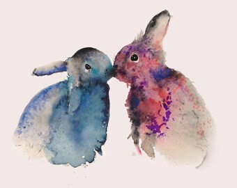 Bunny print. Bunny painting. Nursery print. Bunnies in love. Watercolour print