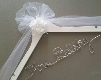 Personalized Wedding Hanger, Bridal Hanger, Bride's Gift, Wedding Shower Gift, Custom Wire Hanger, Wedding Dress Hanger