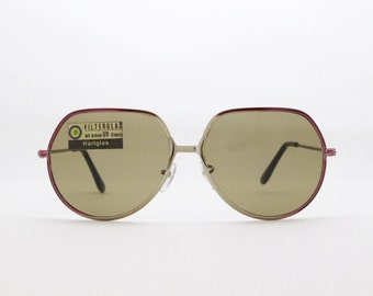 Oversized sunglasses, 70s glasses, metal frame, original vintage eyewear, brown lens