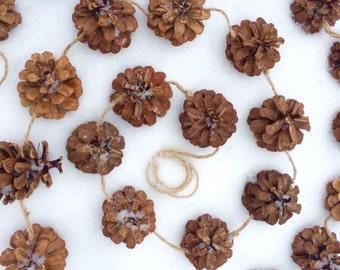 pine cone garland 6 1/2 foot long woodland decor garland, fall garland, autumn, thanksgiving garland