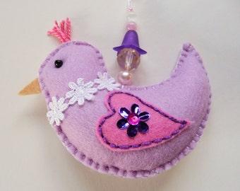 Felt Bird Ornament, Easter Ornament, Bird Decoration, Spring Decor, Doorknob Hanger, Doorknob Pillow, Easter Decoration, Easter Basket Gift
