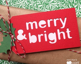 Merry & Bright. Christmas gift tags or swing tags. Red and White with Holly Leaf - Merry Christmas, Xmas gift tags.
