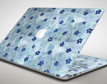 Cute Watercolor Flowers over Blue - Apple MacBook Air or Pro Skin Decal Kit (All Versions Available)