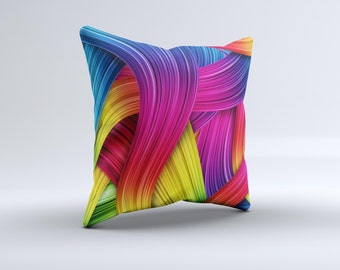 HD Vibrant Colored Strands ink-Fuzed Decorative Throw Pillow