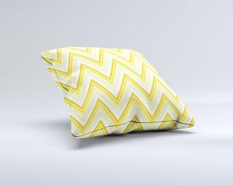 Sharp Vintage Yellow Chevron ink-Fuzed Decorative Throw Pillow