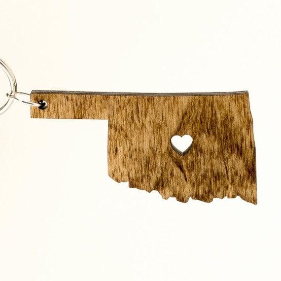 Oklahoma Wooden Keychain OK State Keychain Wooden Oklahoma