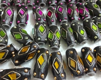 Kashmiri Beads - Indian Ethnic Handmade Beads - Assorted ,Polymer Clay Beads with mirrors - Multicolor