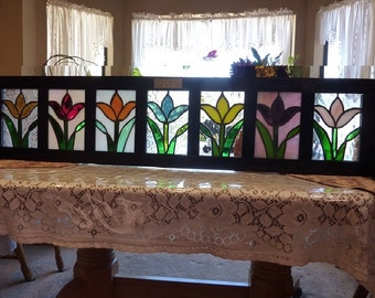 Stained Glass Flower Window Boxe:Tulips on Parade
