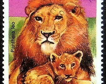 Lion and lion cub Panthera leo -Handmade Framed Postage Stamp Art 20369AM