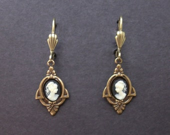 Small Cameo Earrings Black Ivory Antiqued Brass Art Deco FREE SHIPPING USA