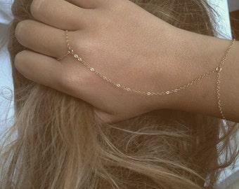 Hand chain - Slave bracelet, Gold filled- Sterling silver bracelet