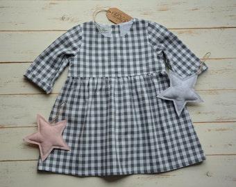 Girls Grey Dress, Cotton, Bottom Frill, Long Sleeve
