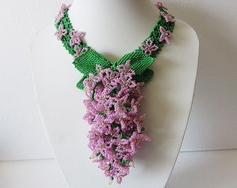 Necklace Lilac - Necklace Handmade – Bright, original, volume, stylish necklace - Bead weaving – unique