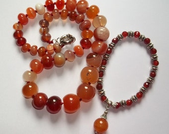 Natural carnelian agate necklace and bracelet and Indian Silver