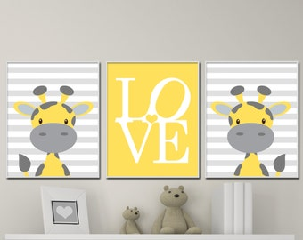 Yellow and Gray Nursery Art Prints. Baby Boy Nursery Wall Art Prints. Yellow Nursery Decor. Baby Giraffe Children Art Prints S-355
