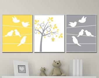 Bird Nursery Wall Art Print, Bird and Trees Wall Art Prints, Yellow Gray Nursery Prints, Baby Wall Art Print and Bedroom Decor H210