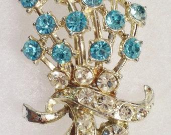Vintage Aqua Blue Rhinestone Silver Pin
