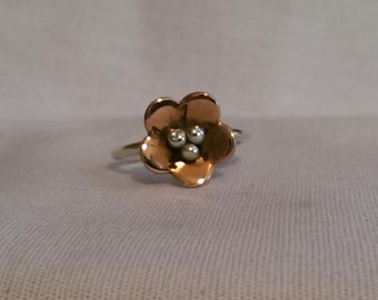 Sterling Silver Copper Flower Ring - Stackable Copper Flower Ring