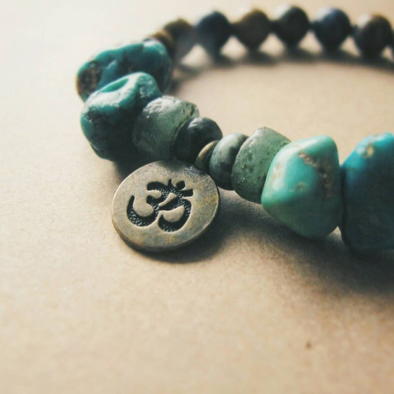 Rough Turquoise Chips, Agate, Petrified Brazilian Wood, and Sodalite Gemstone Bracelet with Bronze Om Charm