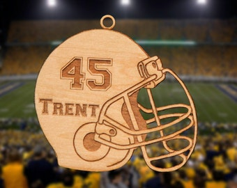 Personalized Wooden Football Helmet Christmas Ornament
