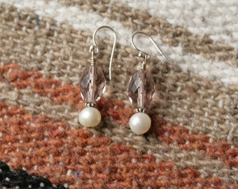 Freshwater Pearl and Lavender Glass Silver Dangle Earrings