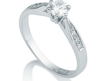 0.35 CT Solitaire Diamond with Accents Engagement Ring Platinum Round F SI1 Model 8989