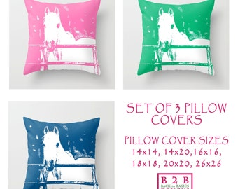 Set of 3 Pillow Covers, 14x14,16x16,18x18,20x20,26x26,home decor,horses,white,green,navy blue,pink,equestrian decor,interior design,kids
