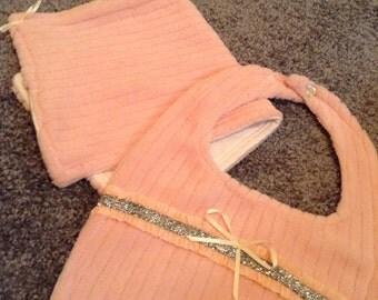 Handmade Baby Girl Pink Chenelle Matching Bib and Burp Cloth