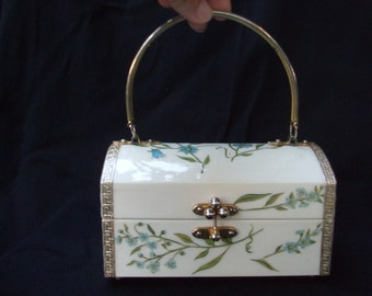 Vintage Teeny Tiny Handbag , Decoupaged Floral Blue and White Miniature Purse