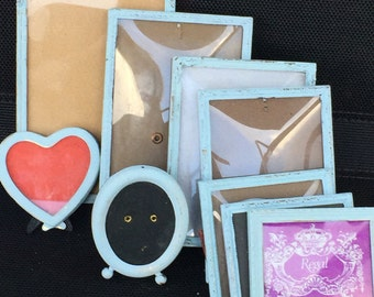 Reclaimed Small Hand Painted Lot Of Danish Metal Picture Frames - Shabby Chic Wedding Decor