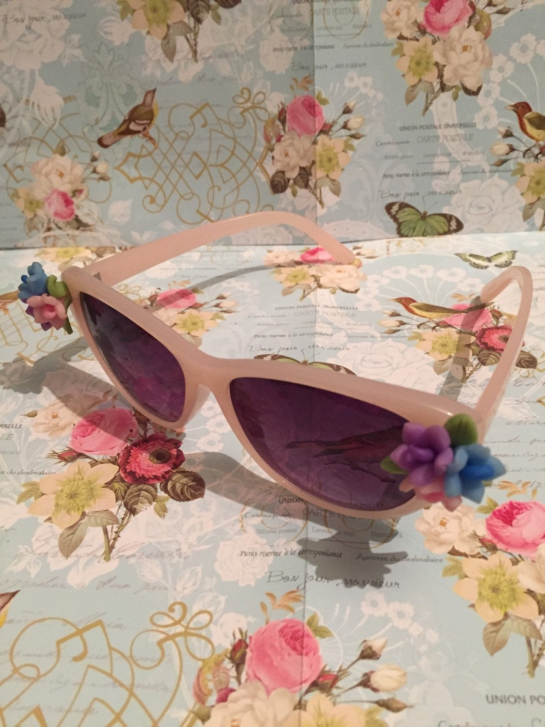 3f94e4bf7116 Cat Eye Metal Sunglasses. Old Price:$15.00. Vintage 1950s Style Pink Flower  Sunglasses