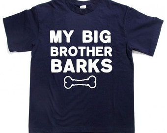 my big brother barks pet shirt clothes pet toddler shirt dog kids shirt dog shirt sayings dog tshirt