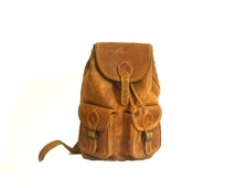Vintage leather backpack / Boho backpack / Brown