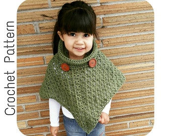 Crochet PATTERN | Cowl Neck Poncho | Women's Poncho Pattern Size 6-16 | Girl's Size 2-16 Poncho Pattern | PDF Digital Download