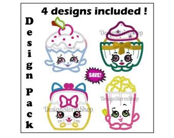 Shopkins Applique Design/Shopkin Machine Embroidery Design/Instant Download File/Patty Cake/Polly Popcorn/Jingle Purse Cat/Cherry Cake/Girl