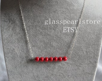 red pearl Necklace,seven Pearl Necklace,Wedding Necklace,bridesmaid necklace,red color glass bead Necklace,statement necklace, red necklace