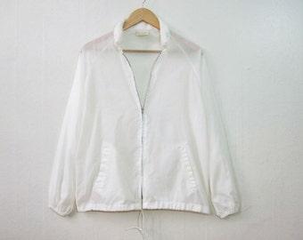 Minimalist White Nylon Jacket / Zip Hood Windbreaker / S Small / 80s