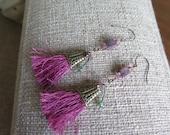mauve earrings, tassel earrings, long earrings, pink earrings, very long earrings, long mauve earrings, fun earrings, lightweight earrings