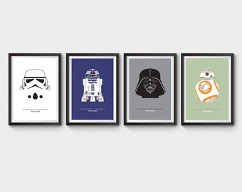 STAR WARS - collection of 4 movie posters, film poster, star wars trilogy, darth vader, r2d2, stormtrooper, bb-8, geekery, minimalist
