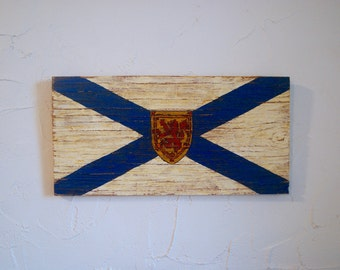 Nova Scotia Wood Flag Sign - nova scotia outdoor sign - provincial flag - hand painted sign - wood flag - nova scotian - canada - provincial