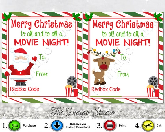redbox codes gift tags cards digital printable 4 different