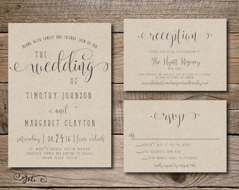 Printable Fun Wedding Invitation, RSVP and OPTIONAL Reception Card-Print Yourself-Digital File