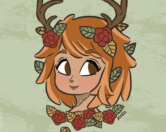 Cute Autumnal/Fall Fawn Girl Illustration - 8x8 Print