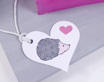 Hedgehog Love Heart Shaped Gift Tag - Hedgehog Gift Wrap - Hedgehog Gift