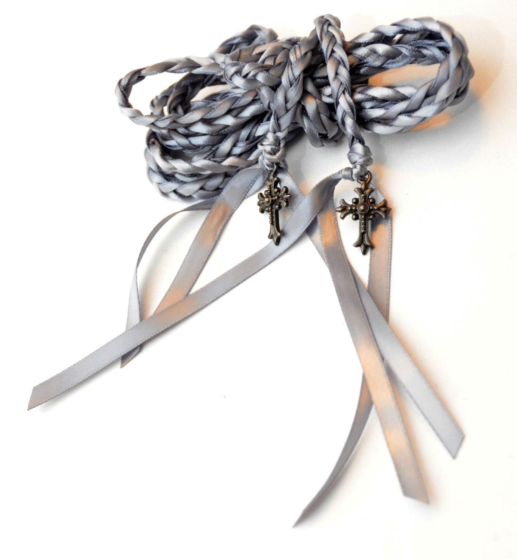 Gunmetal Celtic Cross Wedding Hand Fasting/ Binding Cord