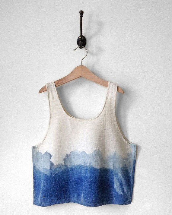 Silk Crop Top. Blue Crop Top. White. Raw Silk. Indigo Dipped. Modern. Tie Dye. Dip Dye. Ombre. Tank Top. Azul. Festival Crop Top. Summer