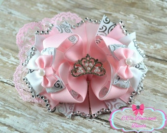 Pink and White Rhinestone Pearl Tiara OTT Boutique Bow